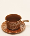 TAMS / One Handle Soup Cup & Saucer (Brown)
