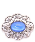 Vintage Costume Jewelry Brooch / Blue Color Stone