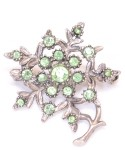 Vintage Costume Jewelry Brooch / Green stone