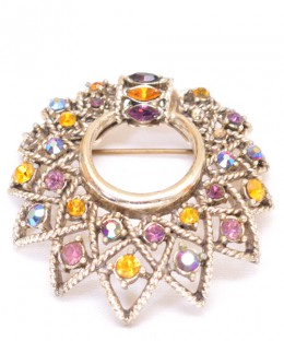 Vintage Costume Jewelry Brooch / Multi Color Stone