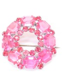 Vintage Costume Jewelry Brooch / Pink stone