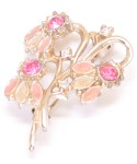 Vintage Costume Jewelry Brooch / Pink multi stone